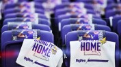 """""""Bring It Home"""" towels drape stadium chairs before the start the start of a NFC playoff game between Minnesota and New Orleans at U.S. Bank Stadium in Minneapolis on Sunday Jan. 14, 2018. (Pioneer Press / John Autey)"""