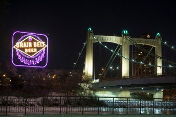 The Grain Belt Beer sign went purple on Friday, Jan. 12, 2017, as part of the Minnesota Vikings' ÒBring It HomeÓ campaign this weekend, leading up to Sundays Divisional Round Playoff against the New Orleans Saints. (Special to the Pioneer Press: Craig Lassig)